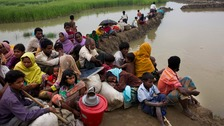 Hundreds of thousands of Rohingya are said to have fled Myanmar.