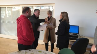 The ITV News Anglia presenting team run through their scripts ahead of the programme.
