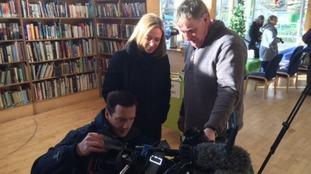ITV News Anglia reporter Emily Knight checks the camera is working OK!