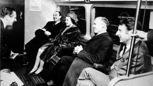 Royal passenger: The Queen takes a seat at the opening of the Victoria Line in 1969