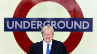 Mayor of London Boris Johnson at the opening of the ticket hall at King's Cross St Pancras Station in 2009