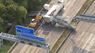 Lorry crashed into the bridge