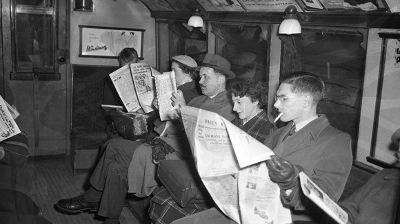Passengers on the London Underground in 1955