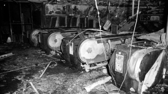 Fire-damaged escalators at King&#x27;s Cross underground station in 1987