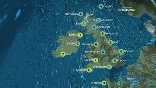 Weather: cloudy with showery outbreaks of rain