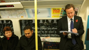 David Cameron travels to the 02 Arena by tube in 2009