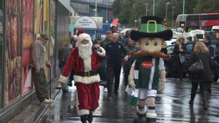 Santa Claus and Pilgrim Pete on the way to Derriford Hospital.