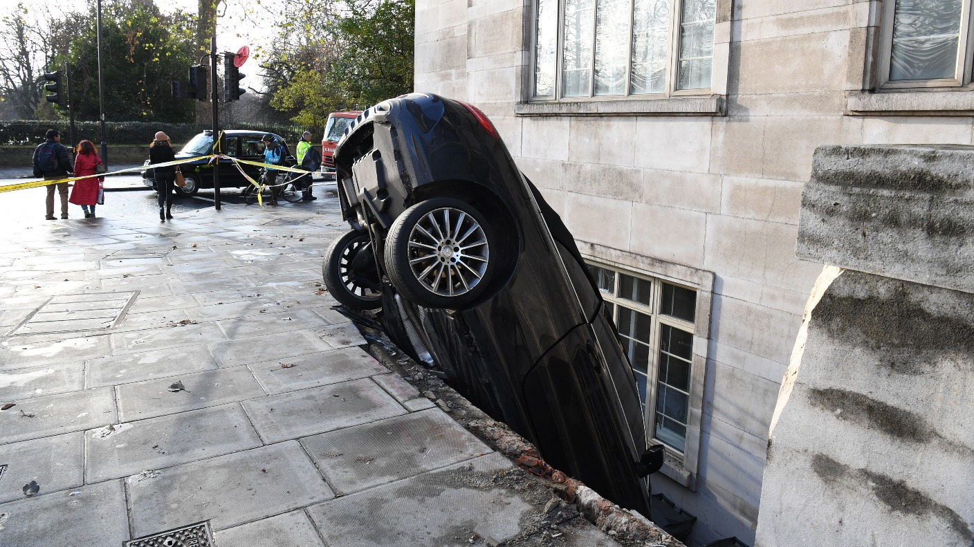Driver Arrested After Mercedes Parked Vertically London