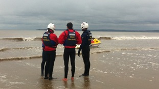 Lifeguards training on Aberavon beach