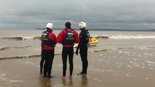 Lifeguards training on Aberavon beach