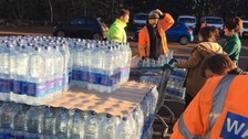 There are there collection points for bottled water.