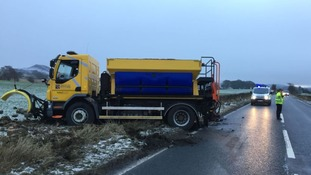 A truck which spun off the road in icy conditions in Dumfries.