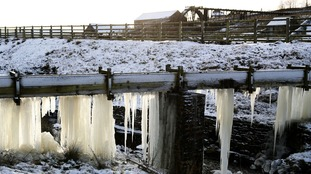 Icicles formed at Killhope mine in County Durham during this week's cold snap.