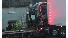 Lorry comes within feet of crashing into houses