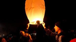 Lanterns were sent aloft