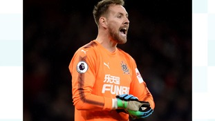 Newcastle United goalkeeper Rob Elliot during the Premier League match at the Emirates Stadium.