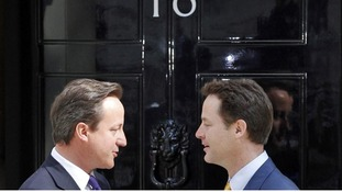 Mr Cameron and Mr Clegg outside 10 Downing Street in May 2010.
