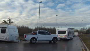 The travellers moved off the station car park to a nearby disused park-and-ride site.