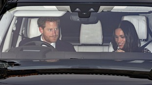 Prince Harry and Meghan Markle arriving for lunch at Buckingham Palace.