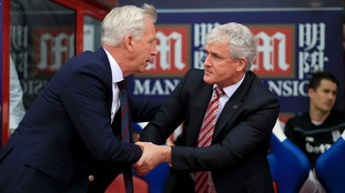 Alan Pardew and Mark Hughes during a previous meeting in 2016