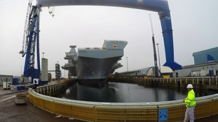 Prince of Wales is 3,000 tonnes heavier than her sister was at the same stage