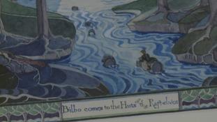 Bilbo rides the barrel down the river.