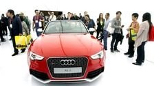 An Audi RS 5 Cabriolet is displayed during the first day of the Consumer Electronics Show in Las Vegas