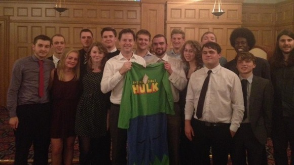 Nick Clegg won his &#x27;Incredible Hulk&#x27; onesie while visiting the youth and student wing of the Liberal Democrats in Sheffield