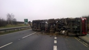 Overturned tanker on A14