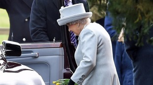 The Queen leaves after attending the morning church service at St Mary Magdalene Church in Sandringham, Norfolk