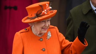 The Queen waved to well-wishers outside church