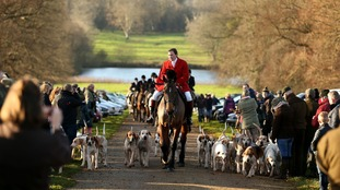 Members of the West Raynham hunt gather for the Boxing day hunt at Raynham Hall in West Norfolk.