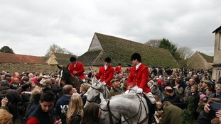 The Avon Vale Hunt meet in the village of Lacock in Wiltshire for the annual Boxing Day hunt.