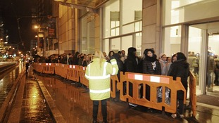 Hundreds of shoppers queuing for Boxing Day sales in Manchester