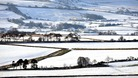 Snow covered fields near Tow Law in County Durham today after overnight snow.