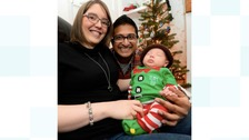 Jane and Bav Patel with baby Abbey