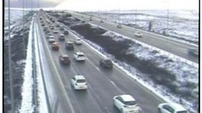 CCTV image from Highways England showing delays due to bad weather on M62