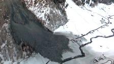 Several tonnes of rock cut off road access to Vals