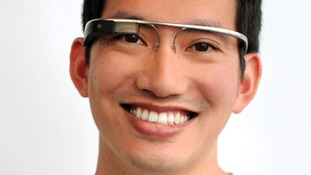 Someone wearing the 'augmented reality' glasses