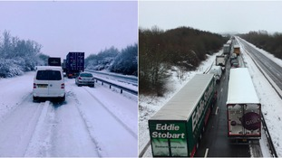 Traffic was stationary in Northamptonshire for several hours.