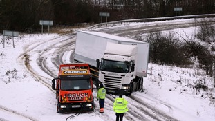 A lorry stuck on the A14 today as the snow and ice is predicted to head to the North West