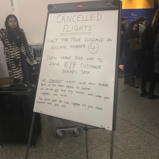 The cancellations left up to 300 passengers waiting to rebook flights.