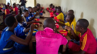 Demobilized child soldiers from a militia in DRC at a transit camp.