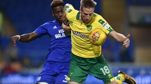 Norwich City defender Marco Stiepermann in action against Cardiff City earlier this season