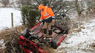 One of the cars that crashed on the A711 near Beeswing village