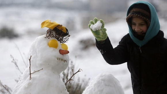 A snowman in the West Bank