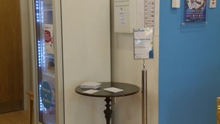 The donation box was in reception