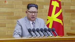 Kim Jong Un speaks in his annual address in undisclosed location, North Korea.