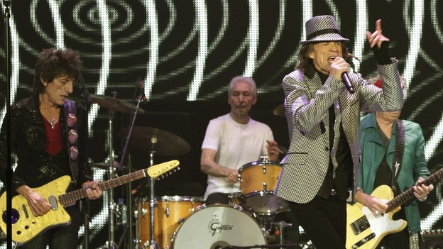 The Rolling Stones performing at the O2 Arena in London, as part of their 50th anniversary series of concerts.