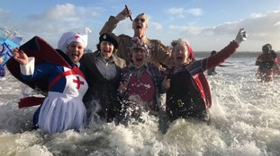 Thousands take part in Saundersfoot New Year's Day Swim
